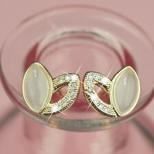 18k yellow gold gf made with SWAROVSKI crystal love heart stud earrings cute
