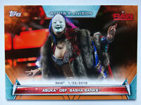 2019 Topps WWE Women's Division Asuka Def Sasha Banks Orange Parallel Card 03/50