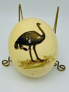 Blown Ostrich Egg Hand Painted Ostrich As is