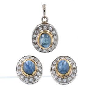 White Gold Sapphire & Diamond Halo Earrings & Pendant Set - 18k Cabochon 2.37ctw