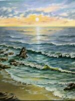 "Art 14""/11"" oil painting ocean seascape nature realistic sunset waves"