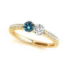 1.15 Cts Blue& White VS2-SI1 2 Stone Diamond Solitaire Ring 14k Yellow Gold