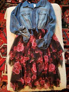 Justice ~ Girls Denim and Floral Mesh Dress ~ Size 12