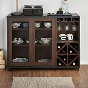 Walnut Finish Buffet Server Storage Cabinet Sideboard Wine Rack Bar Sliding Door