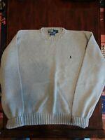 POLO Ralph Lauren Pony Cotton Crew Sweater Men's Size XL Vintage Gray Knit
