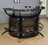 Modern Contemporary Dining & Rec Room Curved Pub Bar Table Wine Cabinet - Black