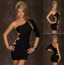 Sz 10 12 Black One Shoulder Cocktail Party Slim Fit Bodycon Sexy Club Dress Chic