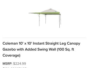 Coleman 10' x 10' Instant Straight Leg Canopy Gazebo with Added Swing Wall (100