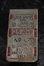 SPORTSMAN'S PARK 100 25 ANV No 7 Seventh Race Money Clip Silver Anniversary 1956