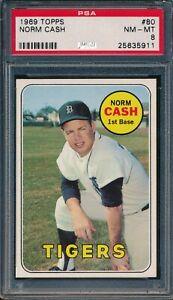 1969 Topps #80 Norm Cash 8 PSA 8 NM-MT TIGERS