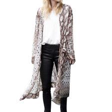 Womens Sheer Chiffon Beach Kimono Long Cardigan Blouse Print Tops Outwear NA