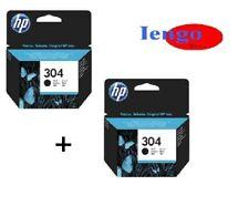 HP 2 CARTUCCE 304 BK ORIGINALI PER DESKJET 2620 2630 2632 3762 HP ENVY 5020 5032