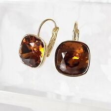 Chocolate Brown Golden Crystal Drop Earrings w/ Cushion Cut Swarovski Rhinestone