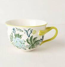 NIB Anthropologie ARBORETUM MUG Cup Flowers 13 oz Stoneware Yellow Green