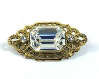 Vintage 1928 Brand Brooch Pin Clear Crystal Glass Rhinestone Gold Tone Filigree