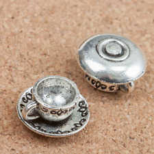 Ancient silver Coffee cups Bead Jewelry Findings,charms Pendants 12pcs