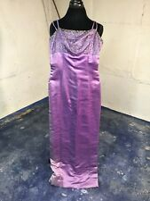 Vintage Purple Satin Evening Gown 1960's with Beading Column of Color S
