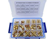 """Road King Truck Parts 3/8"""" Push Lock Brass Air Line Fitting Kit, DOT Approved"""