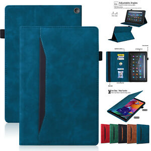 Leather Wallet Stand Smart Case For Amazon Kindle Fire HD 10 Plus 2021 HD 8 2020