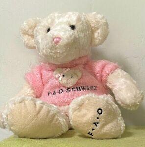 "21"" FAO Schwarz Plush Stuffed White Bear with Fuzzy Pink Monogramed Sweater EUC"