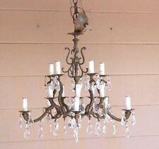 Vintage Ornate Brass Prism 15 Light Chandelier Light Fixture Made In SPAIN Huge!