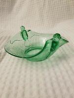 Dugan Fenton Depression Glass Green Uranium Hummingbird Handle Bowl