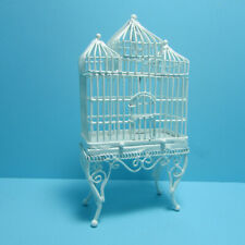 Dollhouse Miniature Victorian Floor Stand Birdcage in White Wire EIWF288