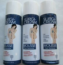 3 SURGI CREAM MOUSSE HAIR REMOVER ARMS LEGS BIKINI ODOR CONTROL FREE SHIPPING US