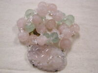 Jade Pink and Green Carved Jade and crystal bead necklace