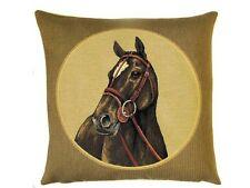 "18"" HORSE Head left Belgian Tapestry Cushion 45cm Horse Equestrian"