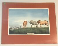 25x20 original matted watercolor painting RANCH NEAR FORT WORTH by Joyce Gilbert