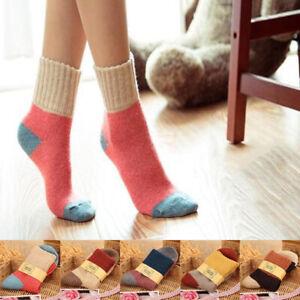 Female Women Socks Cotton Rabbit Wool Thicken Patchwork Winter Thermal Socks ca