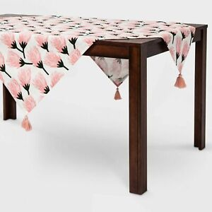 Opalhouse™ Tassel Trim Floral Blooms Pink Table Runners And Table Throws 50x50