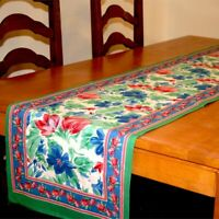 Cotton Floral Block Print Table Runner, Brush Stroke Design, 72 x 15 Inches