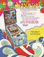 WILLIAMS SUMMER TIME ORIGINAL PINBALL MACHINE SALES FLYER BROCHURE AAB RARE