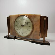 More details for metamec copper & faux marble mid-century modern battery operated mantel clock