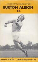 Burton Albion v Telford / Nuneaton 1974/5 Joint programme - Southern League