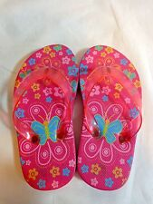 Girls Flip Flops Pink Butterfly and Flower Print Toddler Size 4.5 Rubber Plastic