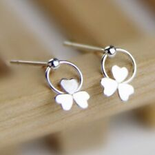 Solid 925 Sterling Silver Shamrock Clover Bead Ball Circle Drop Dangle Earrings