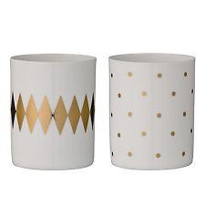 BLOOMINGVILLE Teelichthalter Windlicht 2er Set weiß/gold aus Porzellan