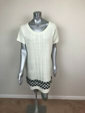 Extra Touch Woman Sweater Dress Plus Sz 3X Casual Knit Short Sleeve Off White