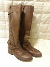 Steve Madden Women's Boots Tall Riding US 8 M Brown Leather Zip Buckles