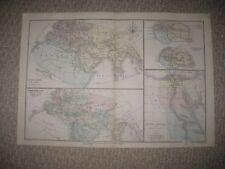 SUPERB ANTIQUE 1874 ANCIENT PRIMITIVE WORLD HISTORY EGYPT HANDCOLORED MAP RARE N