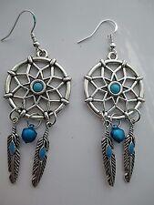 DREAM CATCHER SPIRIT GUIDE PENTAGRAM EARRINGS HANDMADE FEATHERS,BLUE BELL+STONE