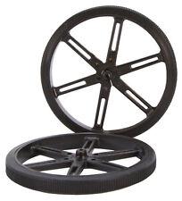 90mm diameter x 3mm bore Black Plastic Robot Wheels - pair (#595662)
