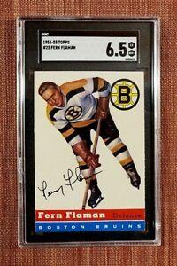 1954 Topps #25 Fern Flaman Boston Bruins Authentic Original Hockey Card SGC 6.5