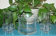 Vintage Elegant Clear Glass Chiller Ice Bucket and Chill Shot Set 7-piece set G1