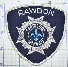 CANADA, RAWDON FIRE PROTECTION INCENDIE QUEBEC WHITE EDGE PATCH