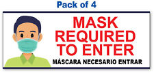 4 - MASK REQUIRED TO ENTER STICKER - Office Store Business Decal Sign Spanish