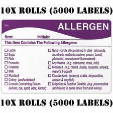 5000 x allergènes alimentaires Allergies Avertissement Alerte Sécurité Autocollant/étiquette 500 par Rouleau FSA